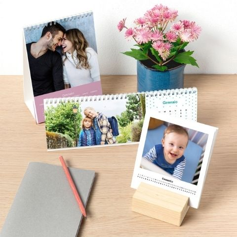 Calendari da tavolo orizzontale, verticale e woody